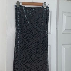 NEVER WORN TEAL ZEBRA MIDI SKIRT
